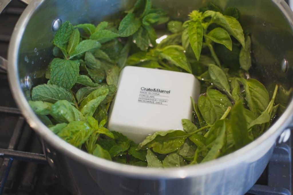 pot with peppermint and basil